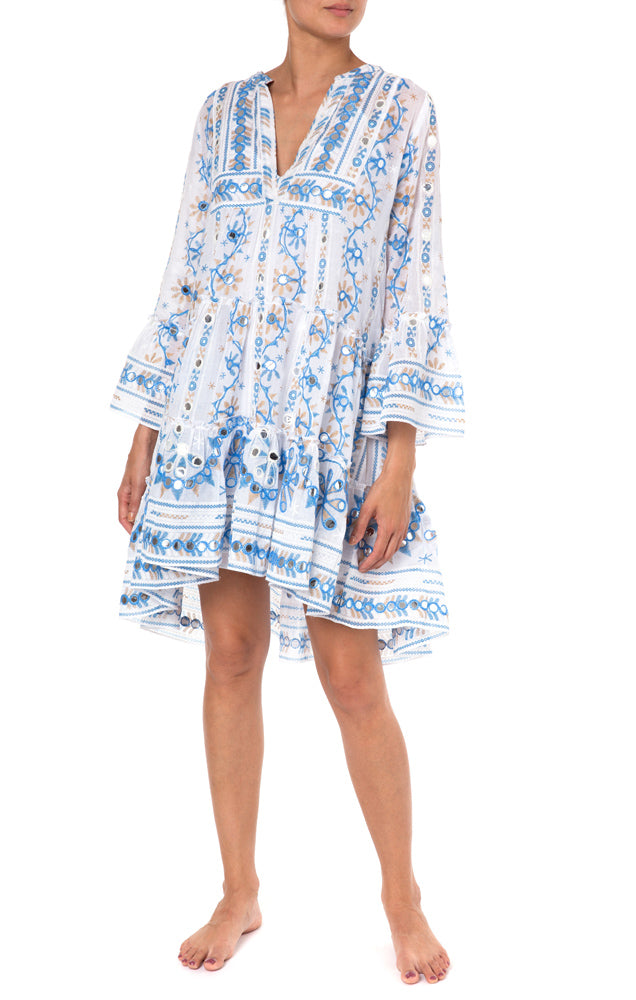 Nomad Flare Sleeve Dress - White/Blue