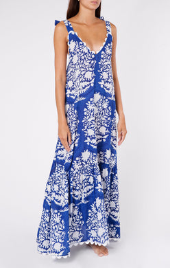 V-neck Maxi Dress - Blue Palladio