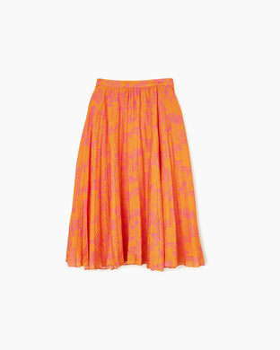 Jeana Skirt - Orange Ikat Flower Print