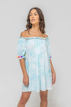 Load image into Gallery viewer, Tie Dye Pom Pom Dress - Light Blue