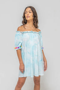 Tie Dye Pom Pom Dress - Light Blue
