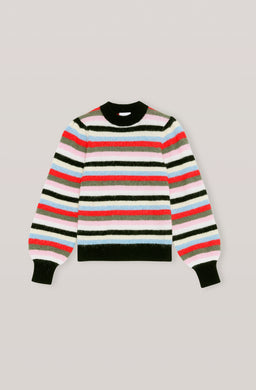 Soft Wool Knit Pullover - Multicolor Stripe