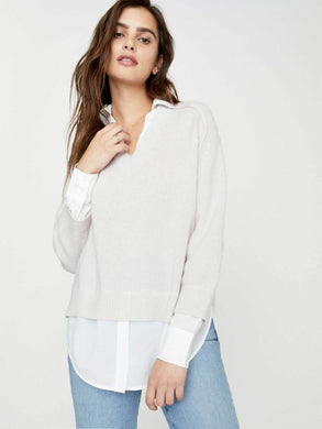 The Looker Layered V-neck Sweater - Perle/White