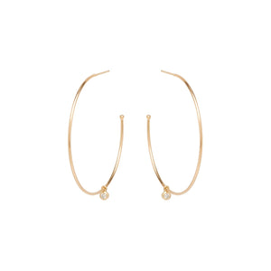 14K Dangling Diamond Large Hoops