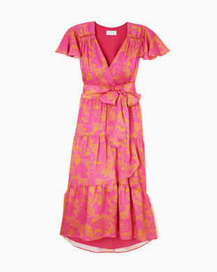 Liza Dress - Pink Ikat Flower Print