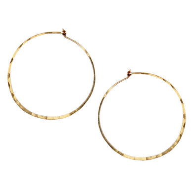 14K Large Thin Hammered Hoops