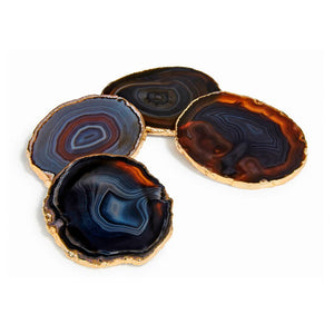 Lumino Gemstone Coasters (4) - Midnight Agate/24k Gold