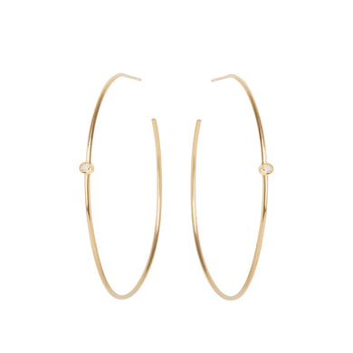 14K Bezel Diamond Center Hoops