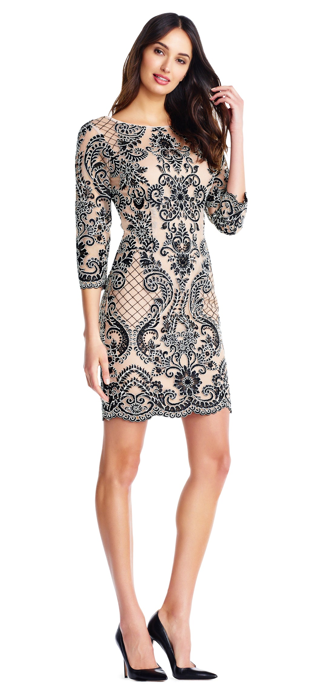 Long-sleeved Embroidered Dress - Nude/Black