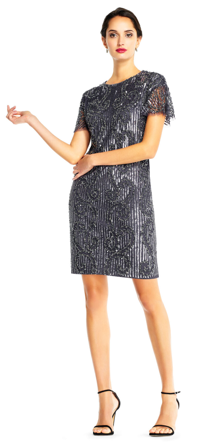 Beaded T-Shirt Dress - Gunmetal