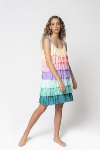 Tiered Mini Dress - Pastel Rainbow