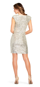 Draped Sequin Dress - Champagne/Silver