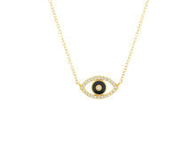 Load image into Gallery viewer, Black Enamel and Diamond Evil Eye Necklace - 14k Yellow Gold