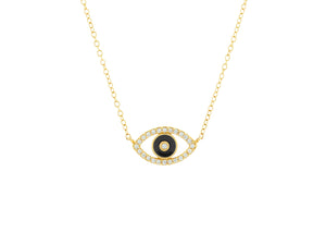 Black Enamel and Diamond Evil Eye Necklace - 14k Yellow Gold