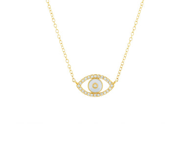 White Enamel and Diamond Evil Eye Necklace - 14k Yellow Gold