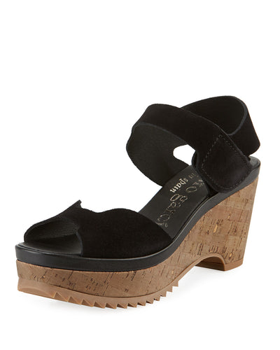Fah Suede Cork-Wedge Sandals - Black