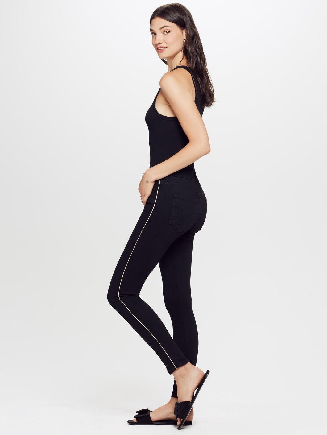 The High Waisted Looker Not Guilty One Liner - Black/Gold Stripe