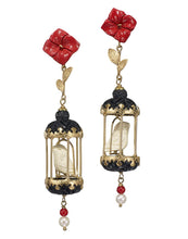 Load image into Gallery viewer, Aviary Classic Earring - Ruby, Black, White