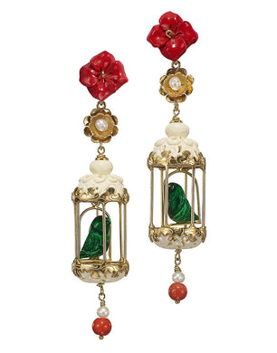 Aviary Classic Earring - Rube, White, Malachite
