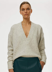 Eco Tweedy Knit Deep V Pullover - White Melange