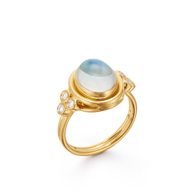 18K Classic Oval Ring - Blue Moonstone