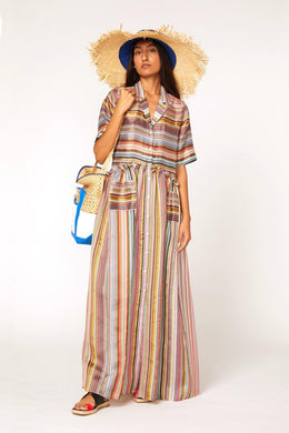 Gathered Shirt Dress - Rainbow