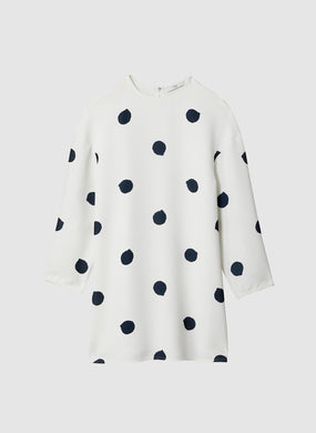Polka Dot Sculpted Shift Dress - White/Black