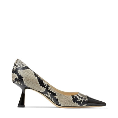 Rene Snakeskin Pump 65mm - Black/Natural