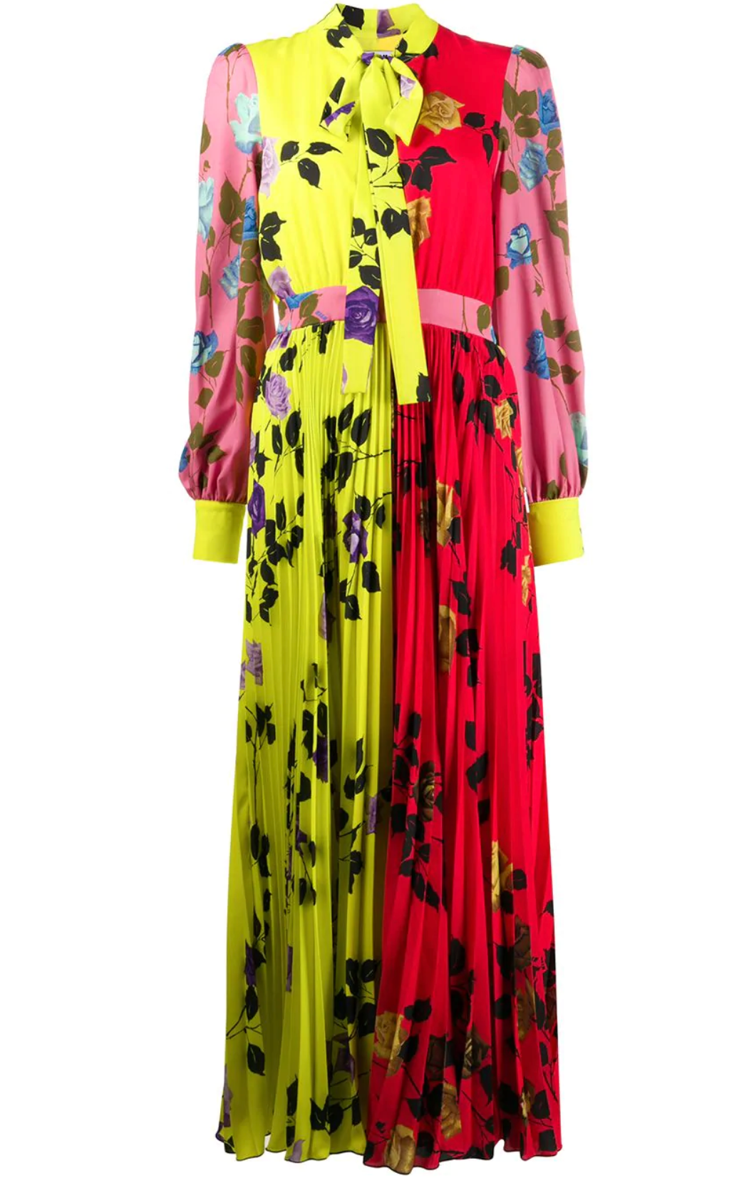 Pleated Print Dress - Neon Floral