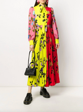 Load image into Gallery viewer, Pleated Print Dress - Neon Floral