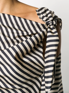 Striped Sensation Blouse - Beige/Black