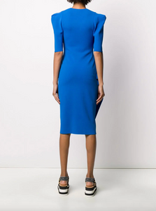 V-neck Knit Dress - Blue