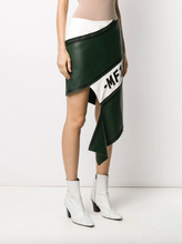 Load image into Gallery viewer, Asymmetrical Leather Skirt - Kelly Green