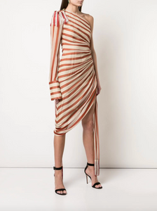 One Shoulder Striped Dress - Rust/Ecru