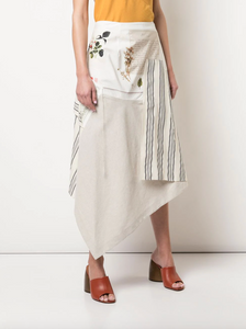Patchwork Asymmetrical Skirt - Natural Multi