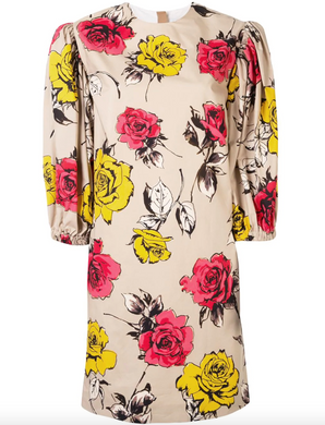 Rose Print Dress - Tan