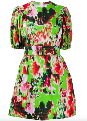 Abstract Floral Printed Dress - Green