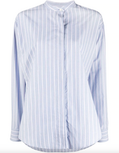 Load image into Gallery viewer, Satchell Striped Band Collar Shirt - Blue