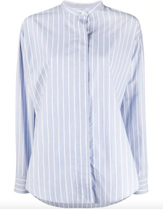Satchell Striped Band Collar Shirt - Blue