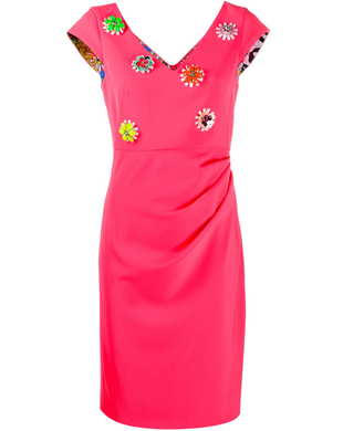 Floral Embellished Dress - Fuchsia