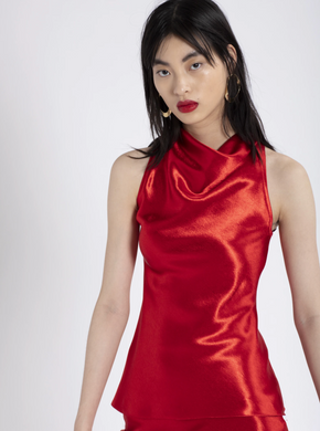 Louma Silk Satin Top - Red Lipstick