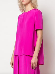Pleat Back Short Sleeve Top - Hot Pink