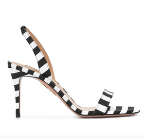 Striped Slingback Sandal - Black/White