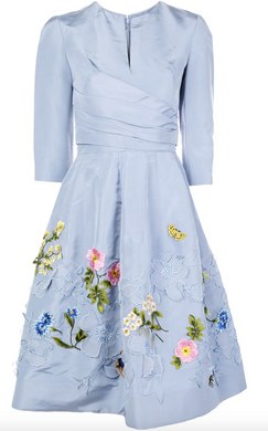 Floral Embroidered Dress - Cornflower Blue
