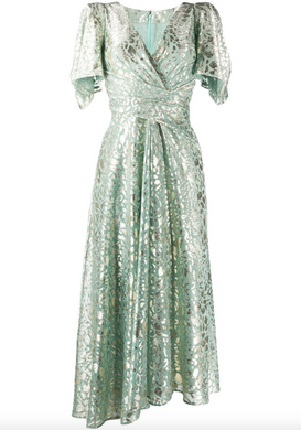 Metallic Thread Midi Dress - Aqua