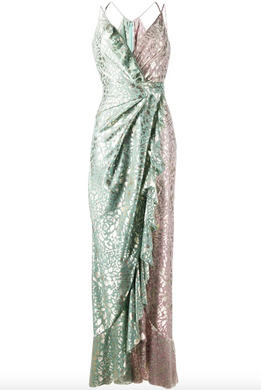 Bicolor Draped Gown - Aqua Multi