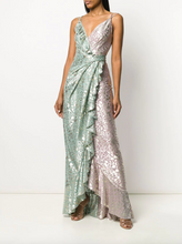 Load image into Gallery viewer, Bicolor Draped Gown - Aqua Multi