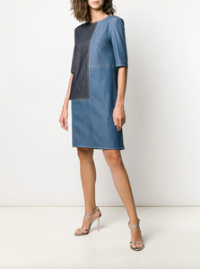Patchwork Shift Dress - Denim