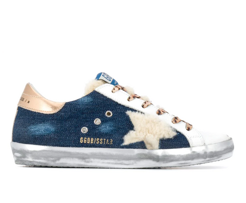 Superstar Sneaker - Blue/Gold/Shearling