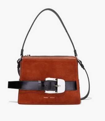 Leather Suede Large Buckle Zip Bag - Chocolate